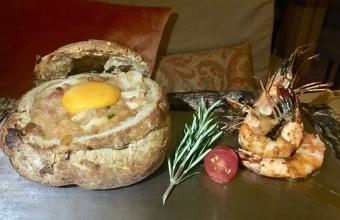 Açorda de Bacalhau em pão Alentejano